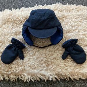 Toddler boy navy hat mitten set
